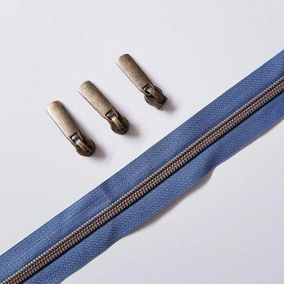 Grey blue with bronze zipper teeth