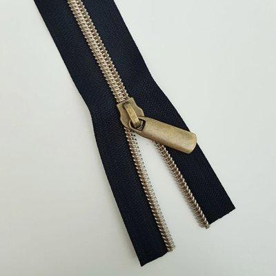 Black with bronze zipper teeth