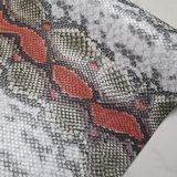 Kunstleer snake rood per vel_