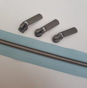 Rits baltisch blauw met mat zwart oxide tandjes