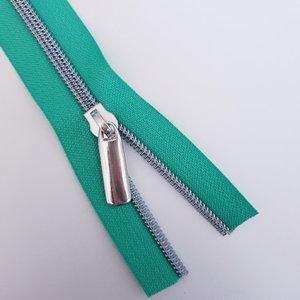 Rits fel groen met nikkel/zilveren tandjes
