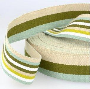 Tassenband 38 mm groen gestreept double face