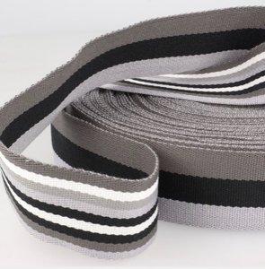 Tassenband 38 mm zwart/grijs gestreept double face