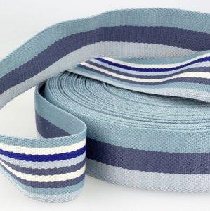 Tassenband 38 mm blauw gestreept double face