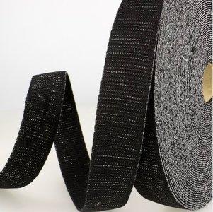 Tassenband 30 mm zwart met zilveren glitter