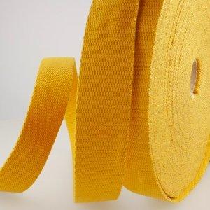 Tassenband 30 mm oker met gouden glitter