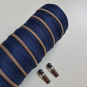 Rits donkerblauw met antiek messing tandjes 4 mm