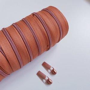 Rits brons met rosé gouden tandjes 4 mm