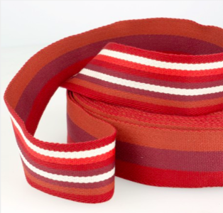 Tassenband 38 mm rood gestreept double face