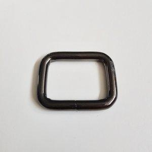 Rechthoekige passant zwart nikkel binnenmaat 25 mm