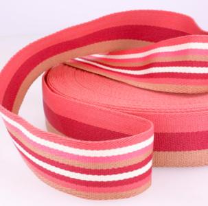 Tassenband 38 mm roze gestreept double face