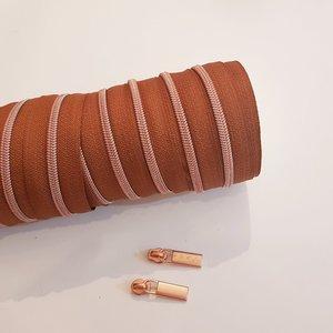 Rits cognac met rosé tandjes 4 mm