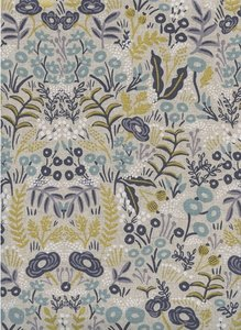 Menagerie Tapestry Natural Unbleached Cotton Metallic Fabric