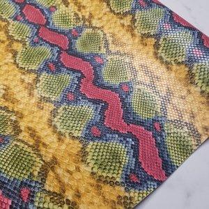 Kunstleer snake multicolored fel per vel - 2 laatste vellen!!!