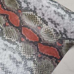 Kunstleer snake rood per vel