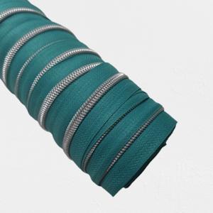 Rits aquamarine met zilveren/nikkel tandjes