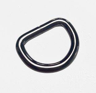 D-ring zwart nikkel 20 mm