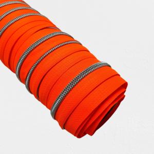 Rits fluo oranje met nikkel/zilveren tandjes