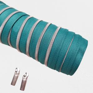 Rits aquamarine met zilveren/nikkel tandjes 4 mm
