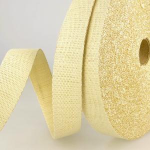 Tassenband 30 mm beige met gouden glitter