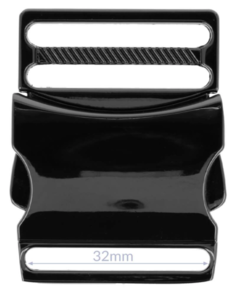 Klikgesp metaal gun black / titan 32 mm