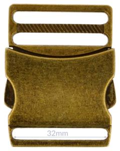 Klikgesp metaal brons 32 mm