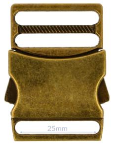 Klikgesp metaal brons 25 mm