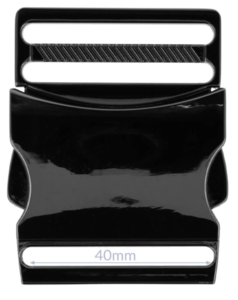 Klikgesp metaal gun black / titan 40 mm
