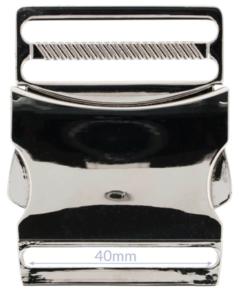 Klikgesp metaal zilver / nikkel 40 mm