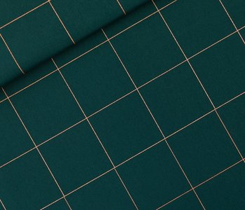 Thin Grid - Cotton Canvas Gabardine Twill - Green Gables